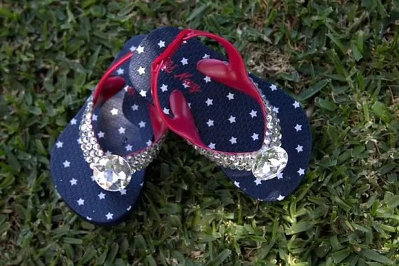 Fourth of July--- SPECIAL LIMITED EDITION--- Baby Spring Bling Toddler Flip-Flop - AllThingsGlam