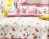 Custom King Size Pastel Fuchsia Pink and Yellow  Floral Blossom Printed Bedding Set with Pink Sheet , Pillows and Shams - MyveraLinen