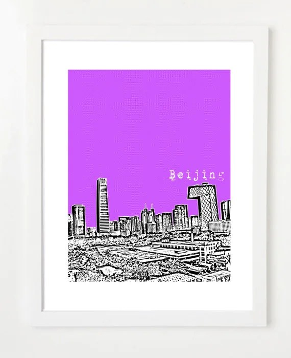 Beijing Skyline Art - China City Skyline Series Poster - Choose Your Color - Beijing China