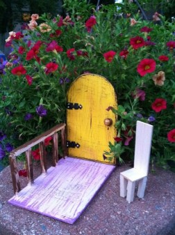 Fairy door, distressed, yellow fairy door, gifts under 20. Ready to Ship. Fairy garden, Birthday gifts, unique, imaginative play.