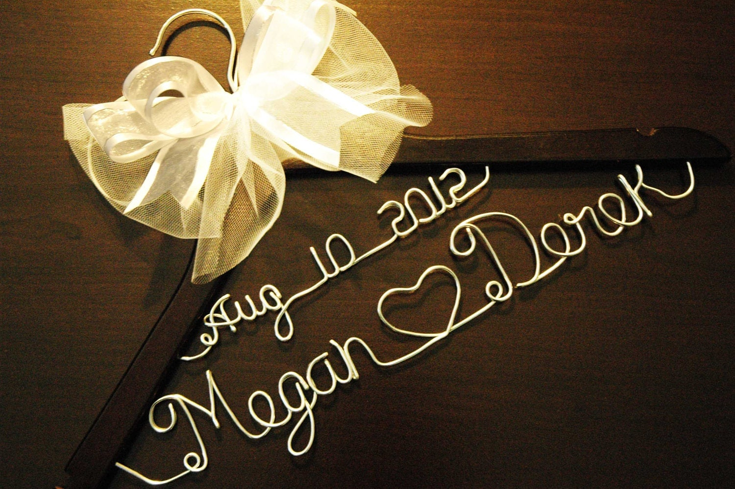 Personalized Custom Bridal Hanger / With BOW And Date By