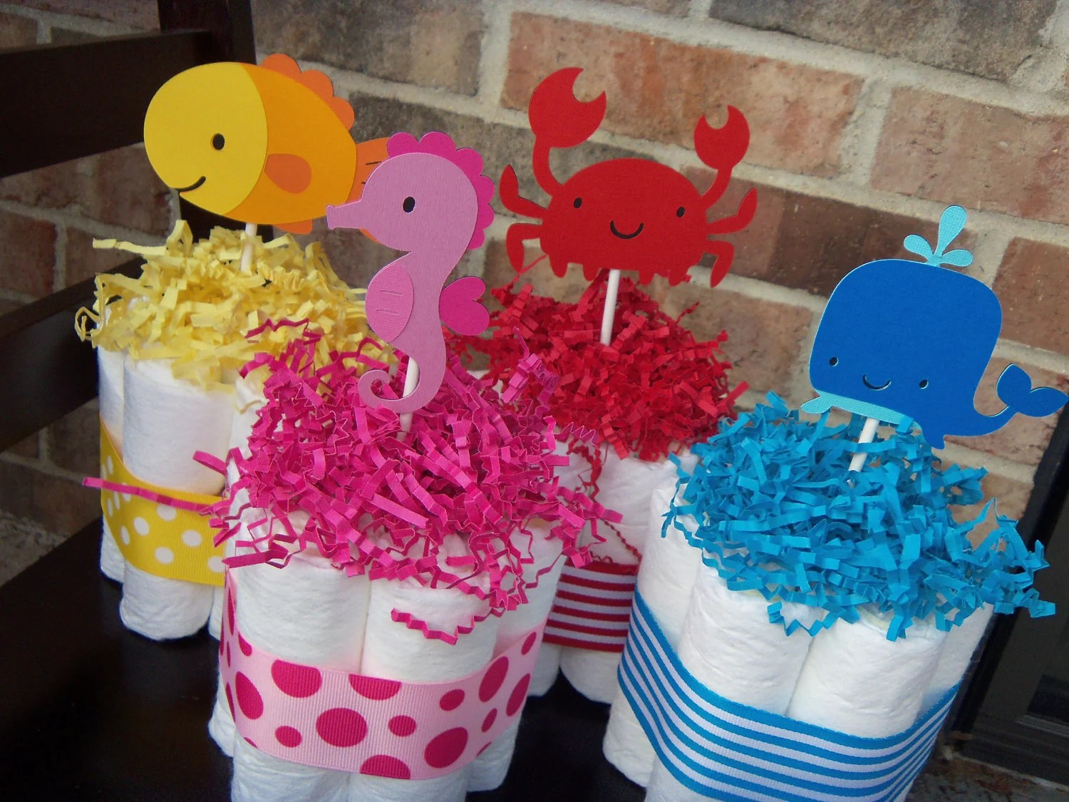 Diaper Cakes Under The Sea Theme Set Of 4 Small Cakes Baby