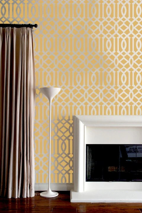 Wall Stencil  Lattice Trellis Allower Pattern Wall Room Decor Made by OMG Stencils Home Improvements Color Paintings 0004 - OMGstencils