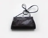 Dark brown leather clutch bag with drapery, vintage dark brown leather purse, 60s - plot