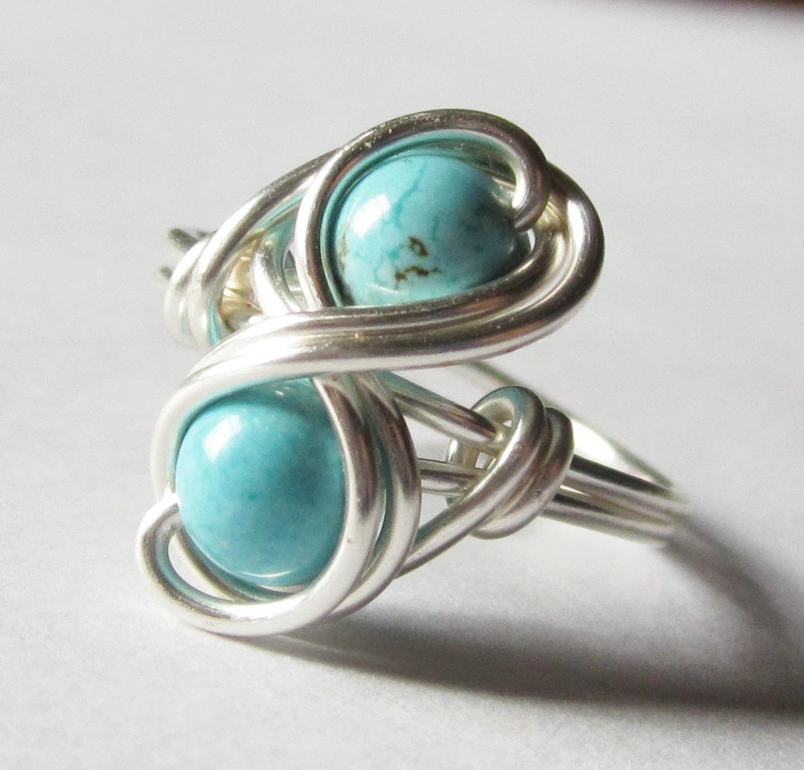 Turquoise Infinity Ring Custom Size Silver Wire Wrapped Jewelry