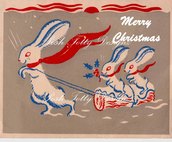 Items Similar To Bunnies In The Snow Christmas Art Deco