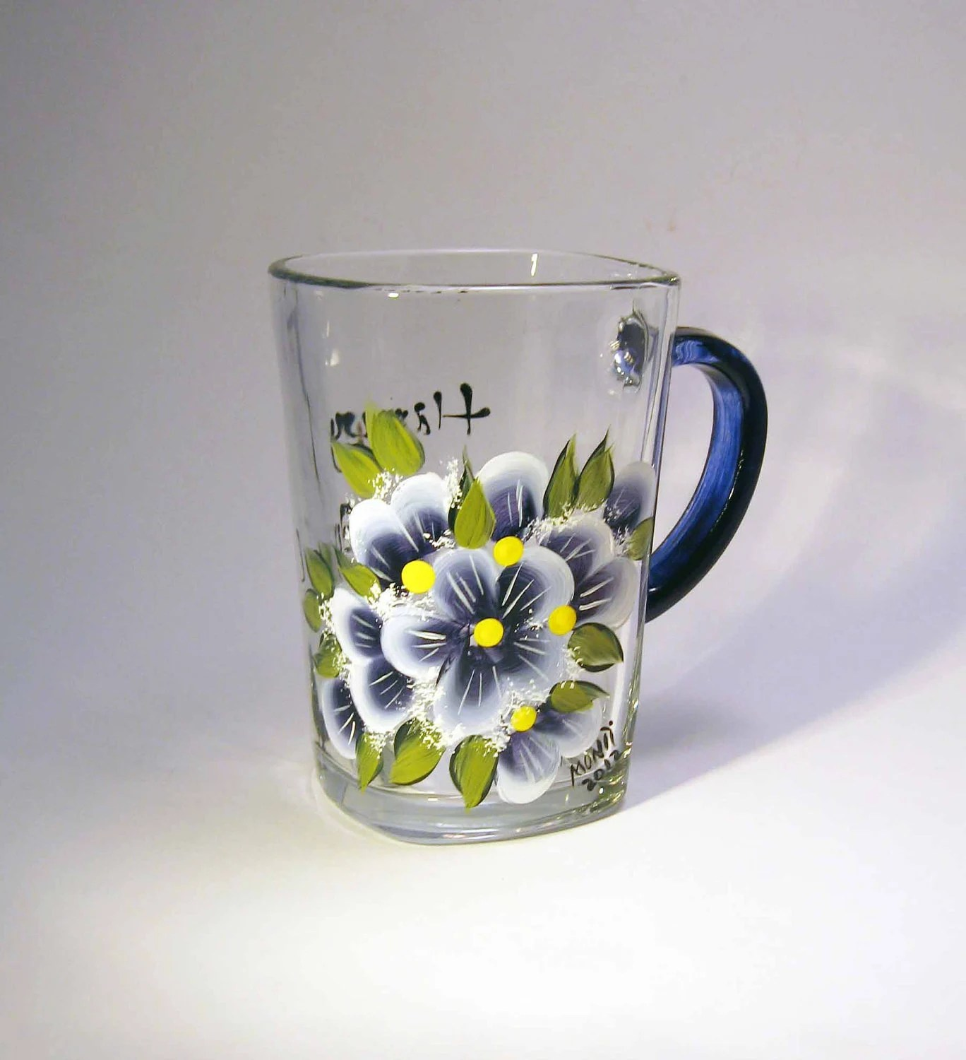 Blue Violets Hand Painted Coffee Cup - GlitznGlass