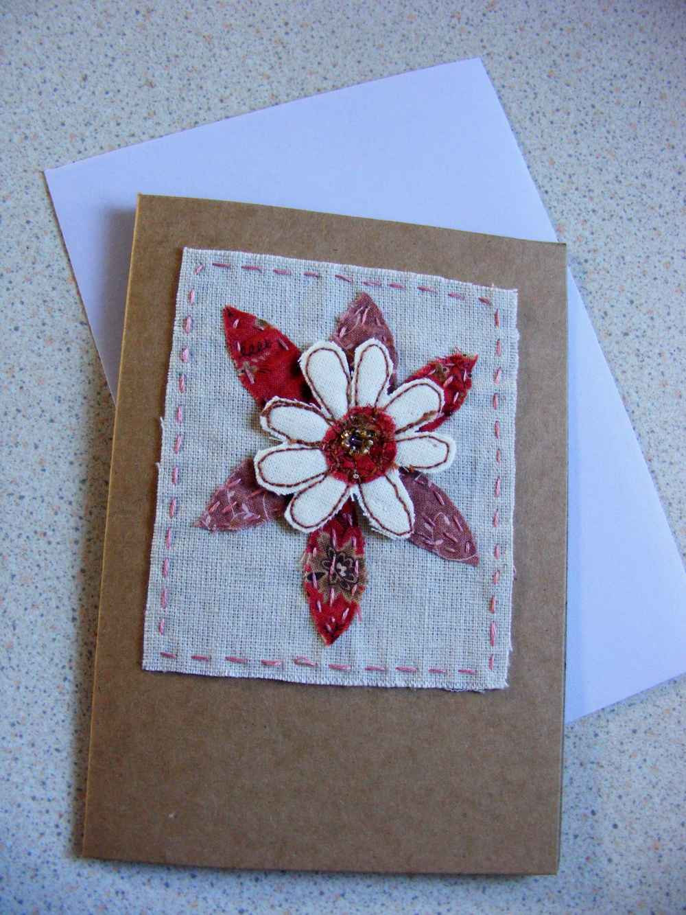 Flur 1 - handmade embroidered, beaded and appliqued greeting on acid free card.