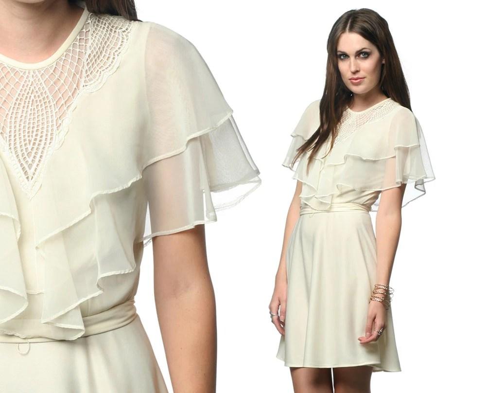Party Dress 70s Mini Chiffon Lace Flutter Sleeve CUTWORK 1970s