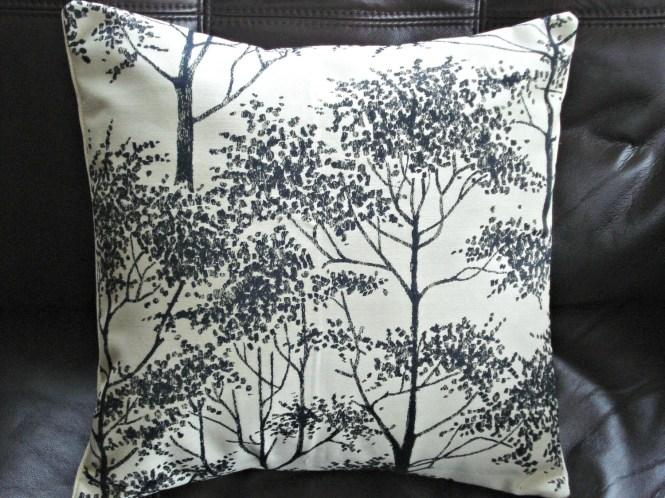 Silver birch pillow tree black charcoal cushion shams UK designer fabric  16 x 16  inch handmade