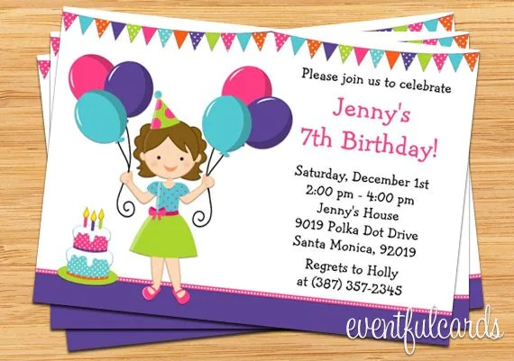 Balloon Birthday Party Invitation For Little Girl By