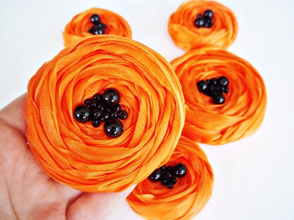 Neon Orange Chiffon Roses Handmade Appliques Embellishments(5 pcs) - BizimSupplies