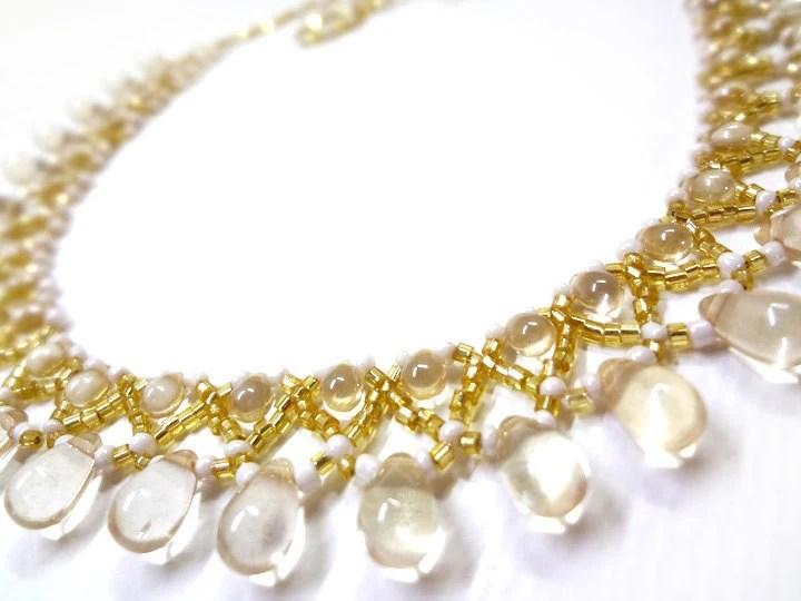 Citron Yellow Necklace - Beaded Lace Collar Necklace - MegansBeadedDesigns