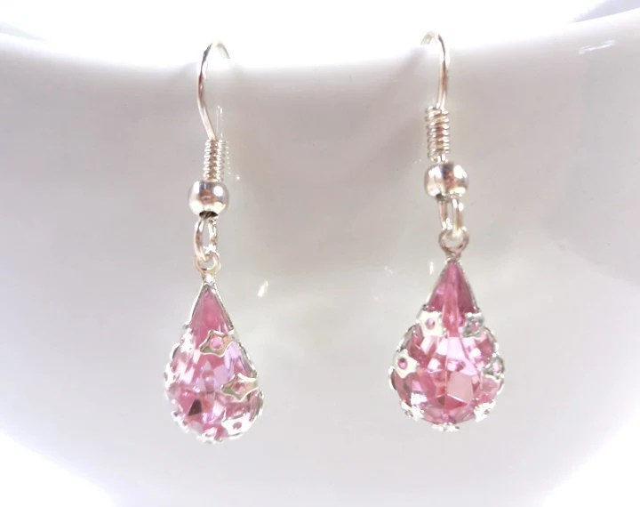 Teardrop Pink Rhinestone Earrings - Glamour365
