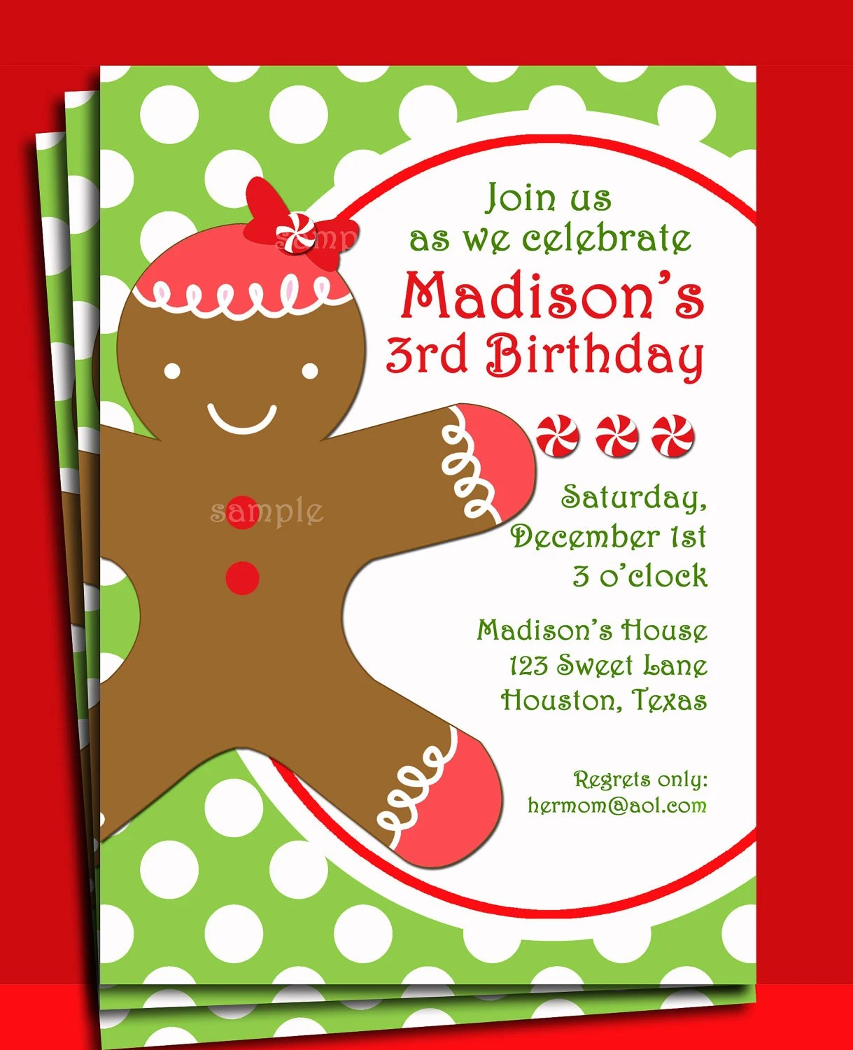 Christmas Gingerbread Girl Invitation Printable Christmas