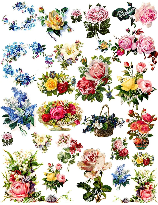 Vintage Flowers Digital Collage Sheet Decoupage Printables