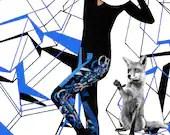 ON SALE Devil white black blue lines leggings - lovingdeacon