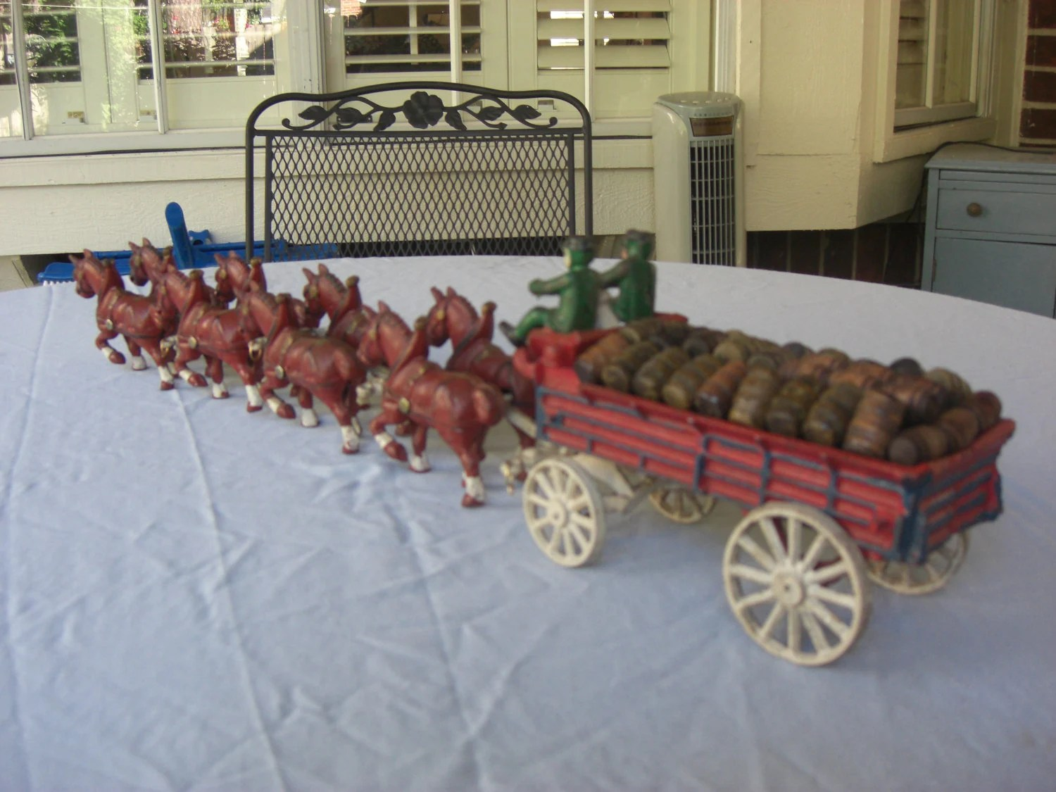 Antique Cast Iron BudweiserClydesdale Wagon And Horses