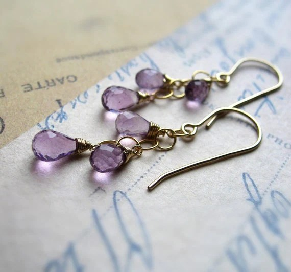Amethyst Earrings, Cascade, 14K Gold-Filled, February Birthstone