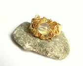 Brass Wrapped Opalescent Bead on Textured Band Ring (R321)