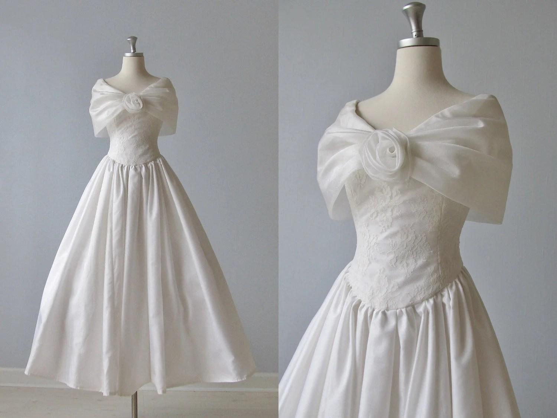 White Lace Wedding Dress / Shawl Collar / Tea Length Wedding