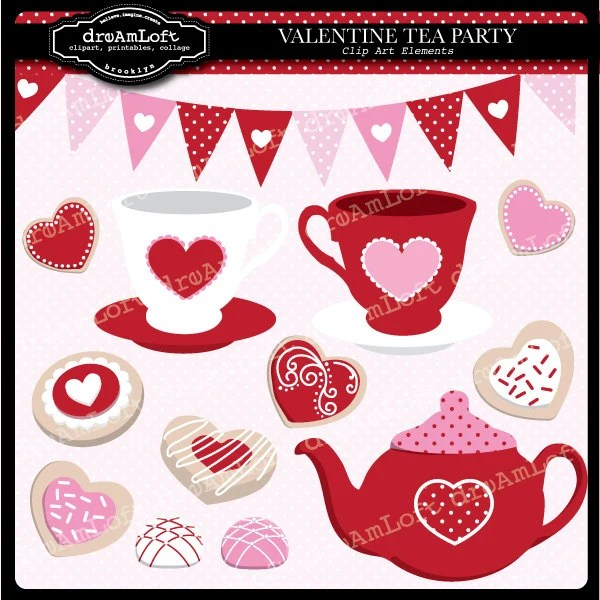 Valentine Tea Party Clip Art Digital Collage Sheet Clipart For