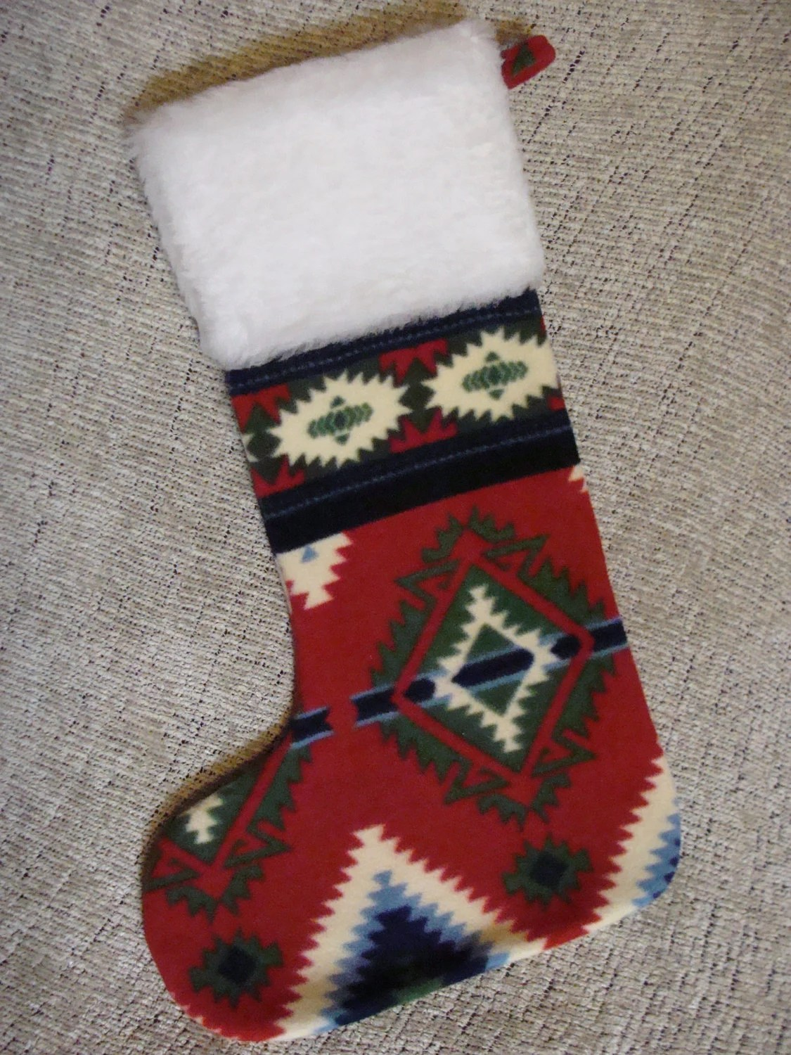 Native American Christmas Stocking Red And Green By Powwowbaby