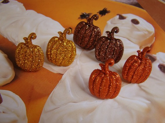 3 Pairs of Glittery Jack O Lantern Pumpkin Halloween Earrings - DesignsByDerenda
