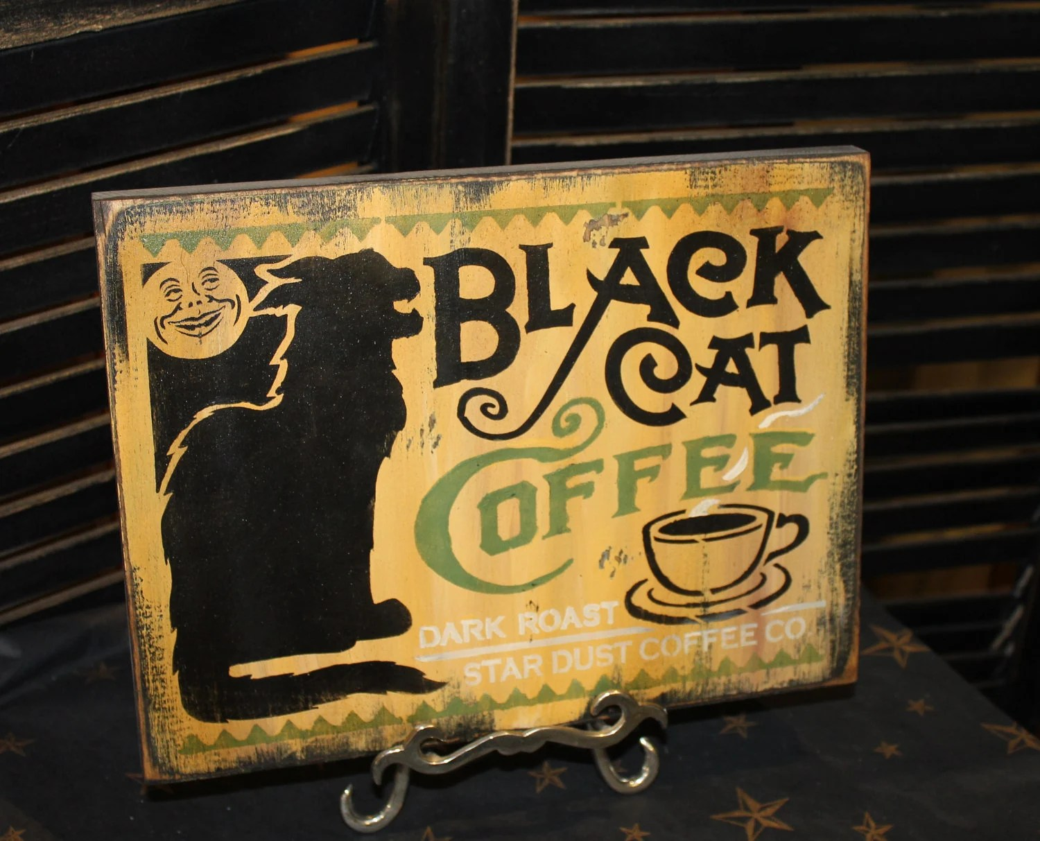 black cat coffee vintage sign