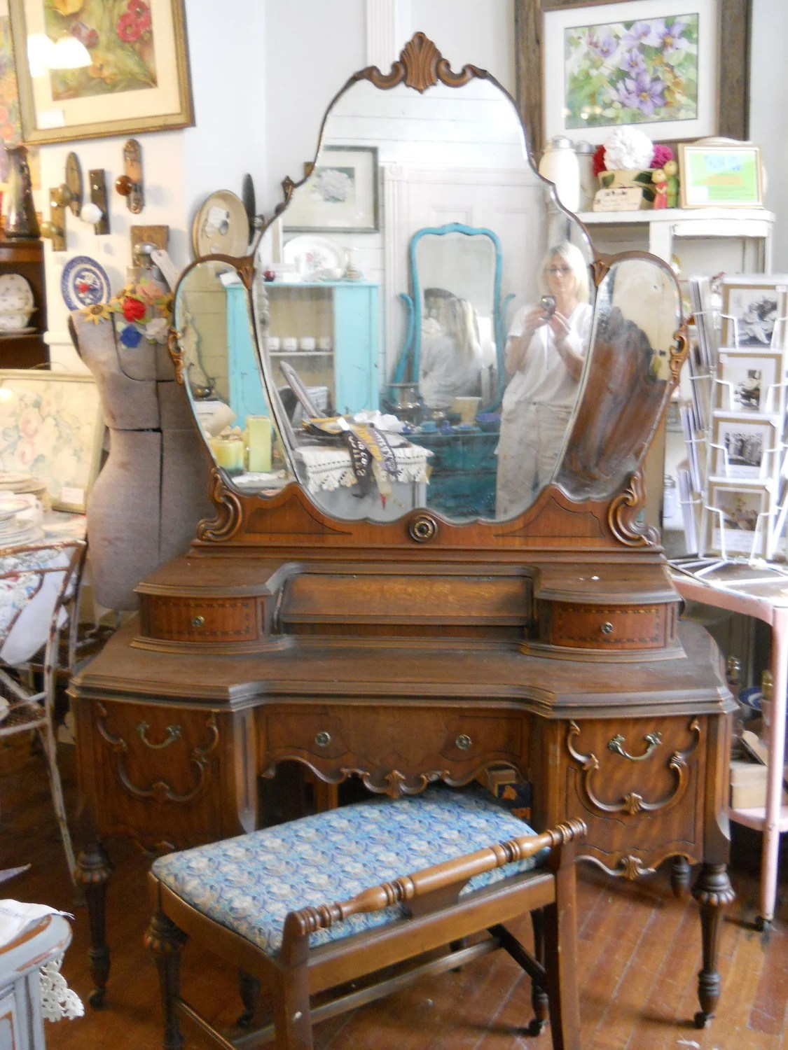 Vintage Vanity Triple Mirror And Bench Custom Reserved For
