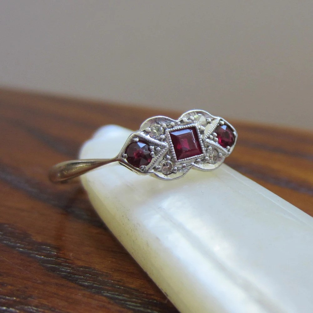 Art Deco Ruby Diamond Ring. Yellow Gold and Platinum. Circa 1920s to 1930s. Addy on Etsy.