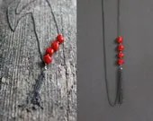 Charming chain necklace with red coral beads - imali