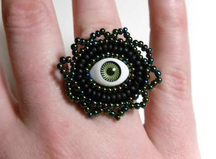Green Evil Eye Ring - Beaded Adjustable Jewelry - MegansBeadedDesigns