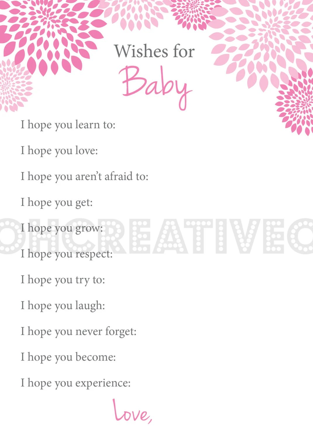 Well Wishes I Hope You Baby Shower Game Printable By OhCreativeOne
