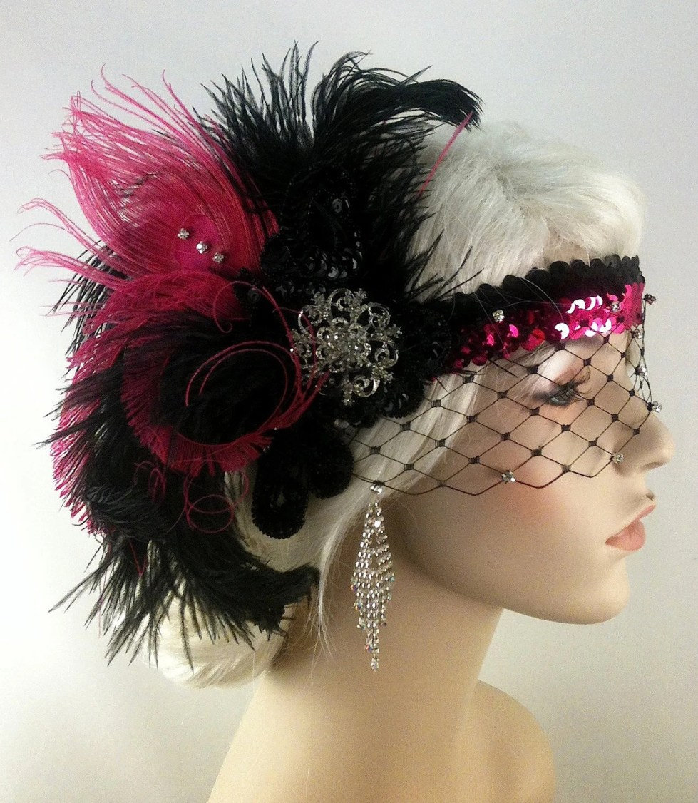 Great Gatsby Headband, Flapper Headband, Downton Abbey, 1920s Head Piece, Art Deco Headband, Rhinestone Veil/Mask, Hot Pink/Black