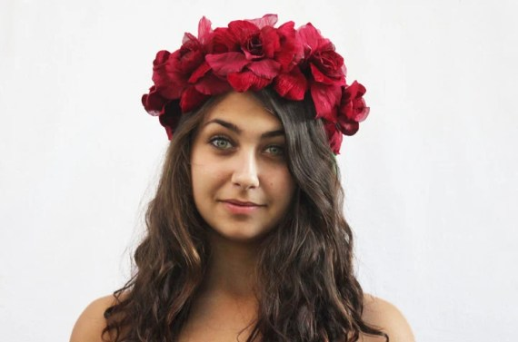Garnet Rose Flower Crown - Valentines Day Accessory, Peace Ball, Red Flower Crown, January, Rose Headdress, Frida Kahlo, Gift Idea - BloomDesignStudio
