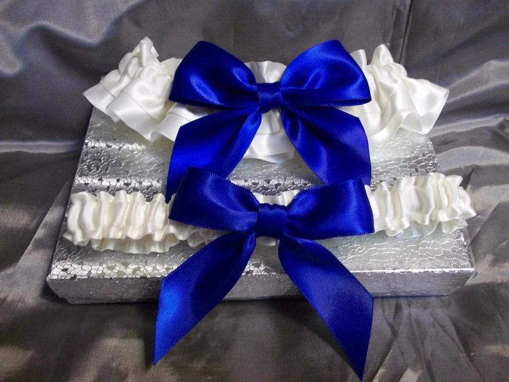 Royal Blue Wedding Garter Set Ivory With Royal Blue Bow