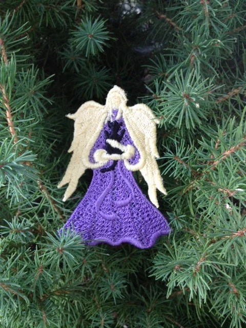 Custom Made, Memorialized, Machine Embroidered, Lace Angel with Fur Baby (Cat) - AliDianneCreations
