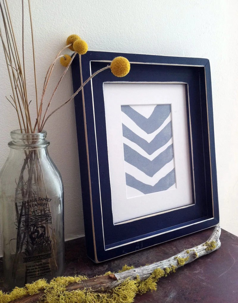 Linoleum Block Print - Light Blue Chevron 8 x 10 - TheRecoverie