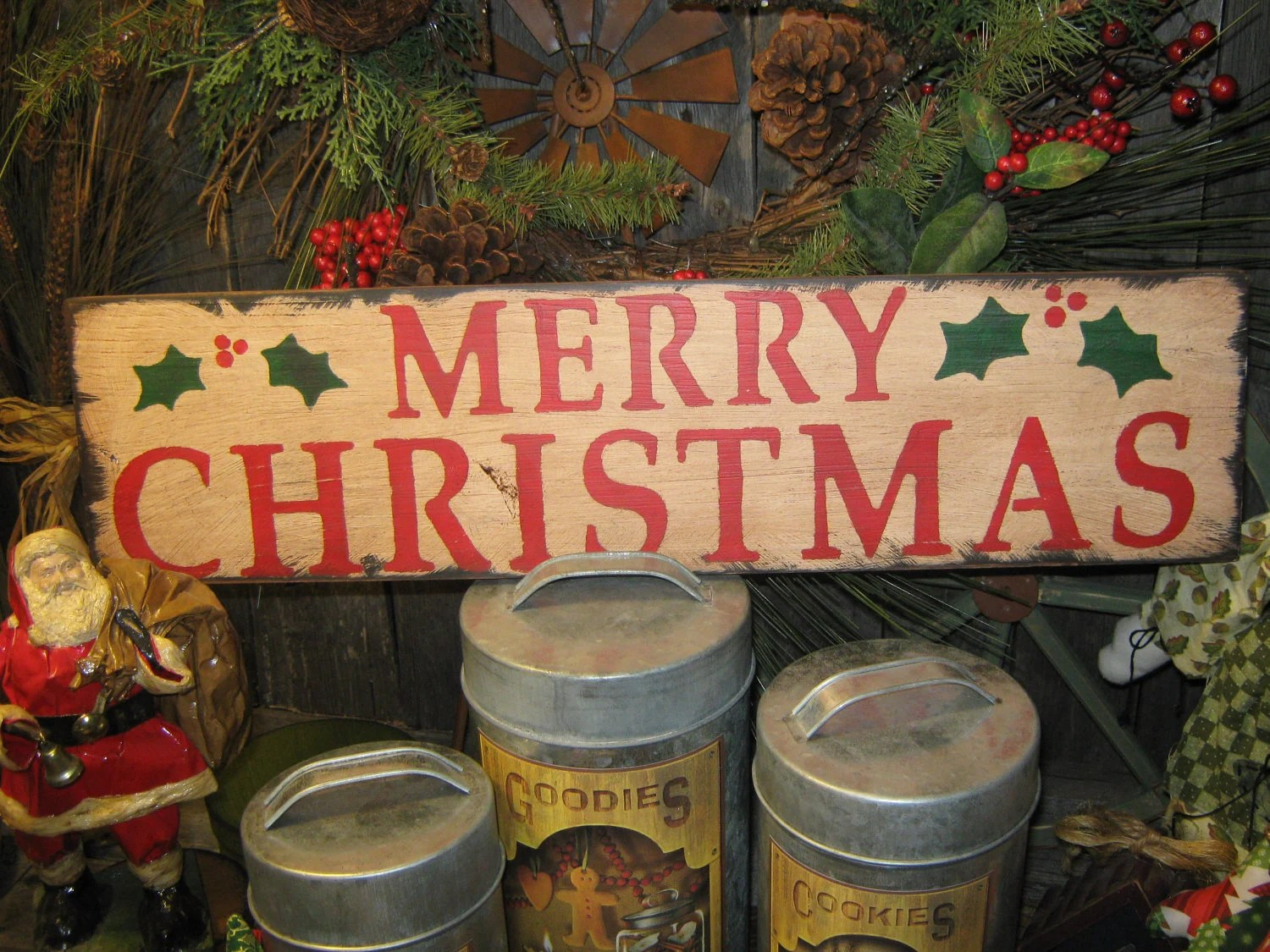 Primitive Large Holiday Wooden Hand Painted Christmas Sign