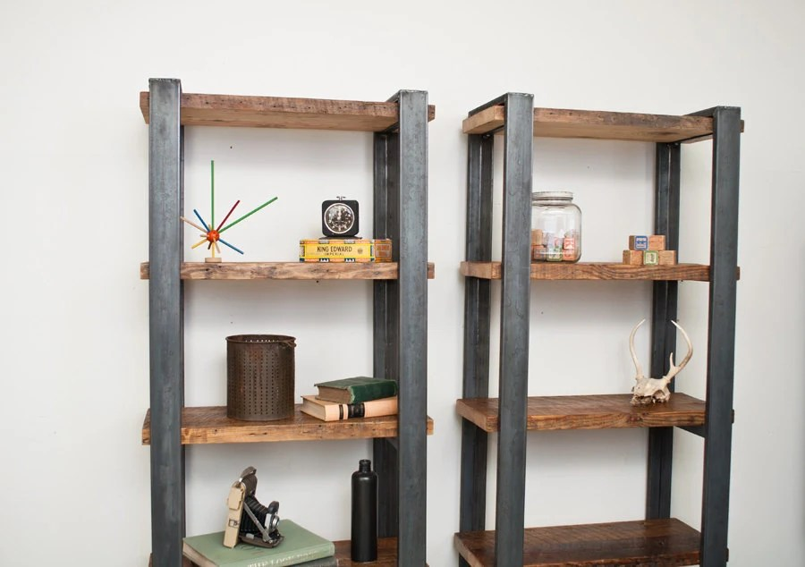 Bookshelves- Salvaged Wood Shelves with Steel Frame