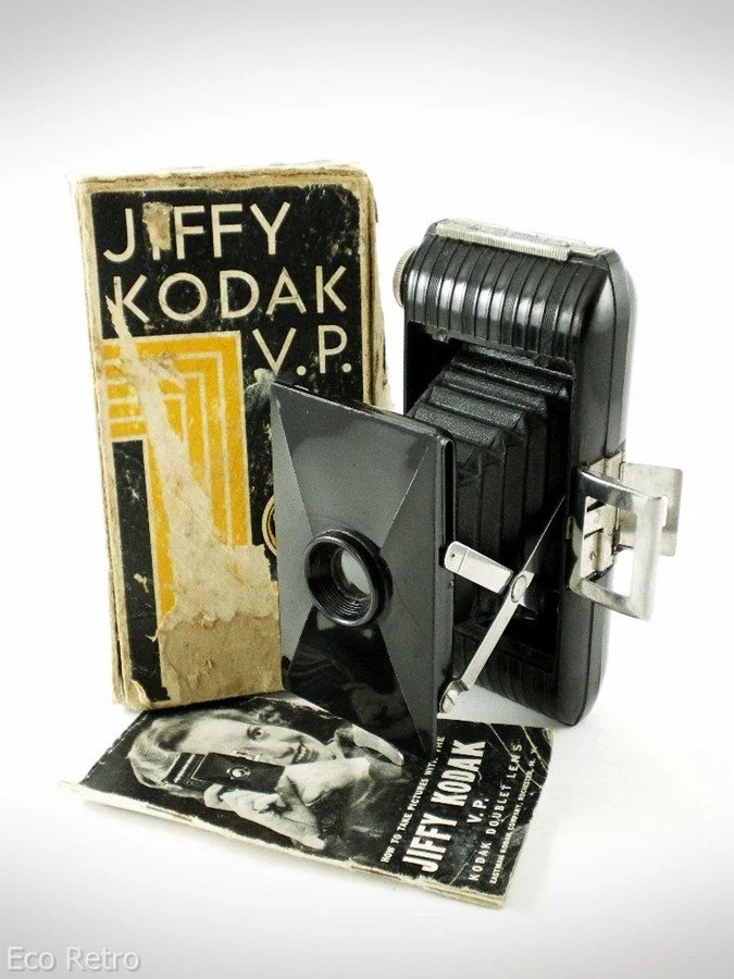 Jiffy Kodak VP - Vintage 1930s Bakelite Art Deco Folding Camera with Box