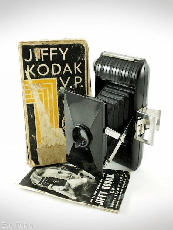 Jiffy Kodak VP - Vintage 1930s Bakelite Art Deco Folding Camera with Box