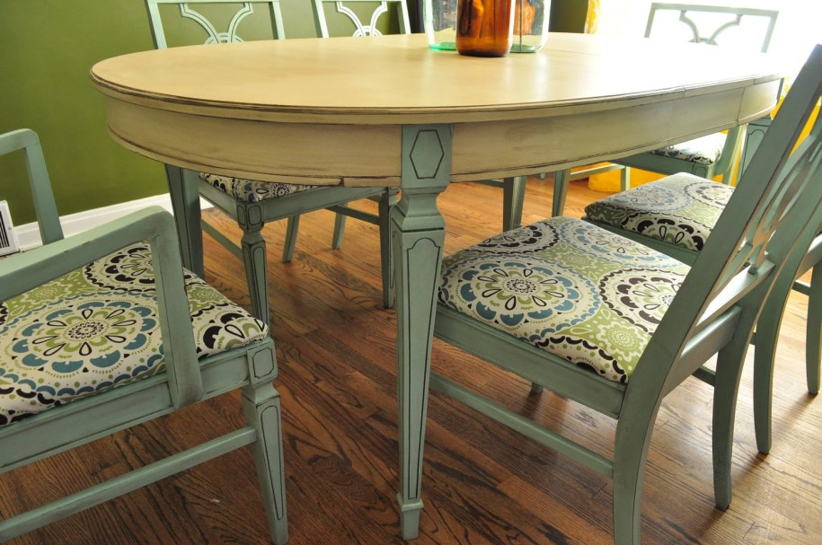 Items similar to Sold Custom Painted Dining Room Table an ...