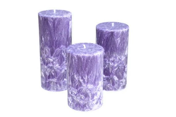 Feathered Pillar Candle Set Purple Moonlight Path - CountryRichCreations