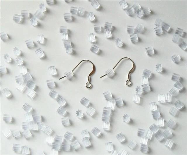 144 Clear Rubber Plastic Ear Wire Guards Ear Nuts