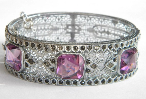 Art Deco Rhodium Filigree Amethyst Hinged Bracelet. Via Diamonds in the Library.