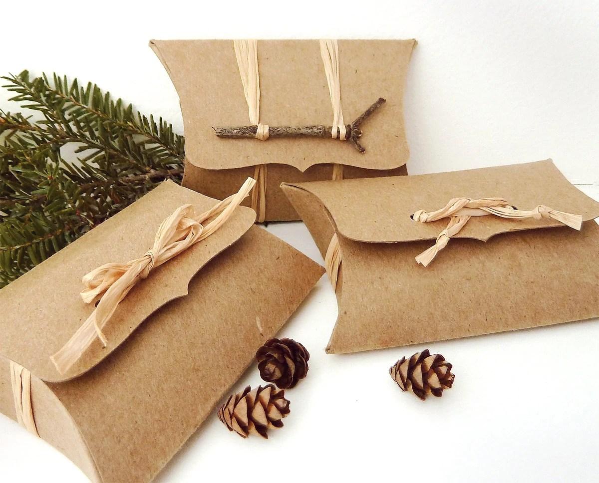 Pillow Boxes 50 Recycled Kraft DIY Wedding Favor Box