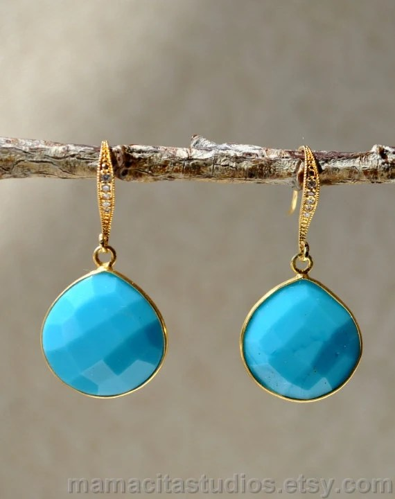 Turquoise Earrings - December Birthstone Jewelry - Black Friday Cyber Monday Sale