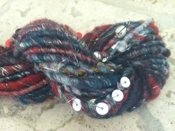 Hand dyed Hand spun Bulky Christmas Bells wool art yarn - red white green gold silver green - paillettes - jingle bells